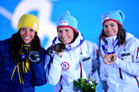 Olympics: Medal Ceremony-Cross Country Skiing-Ladies' 7.5km + 7.5km Skiathlon, Mens Slope Style Snowboarding